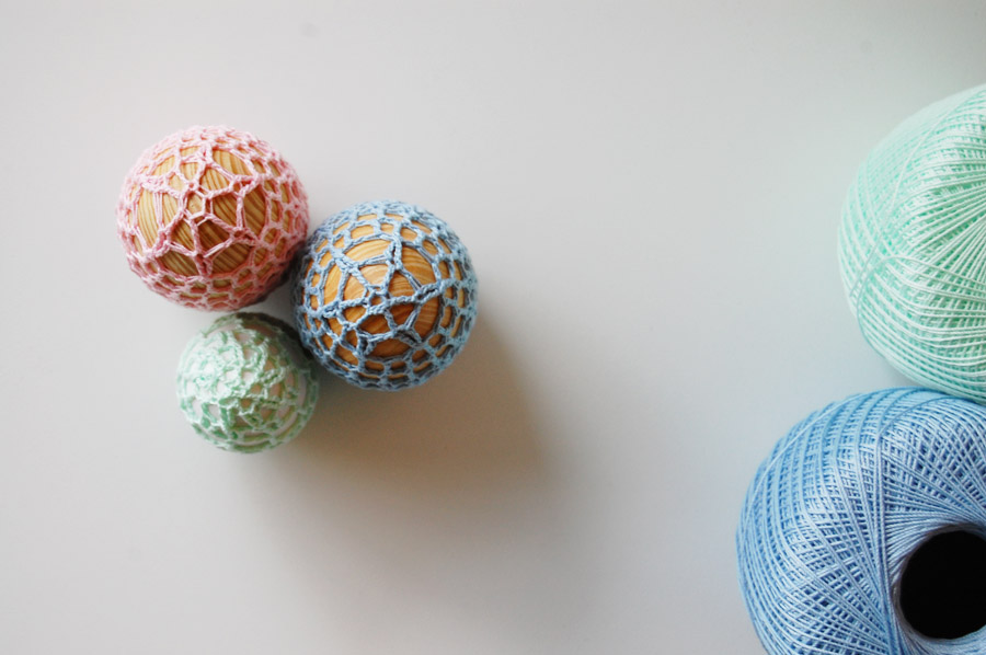Crochet Wooden Easter Eggs at ThinkCrafts.com