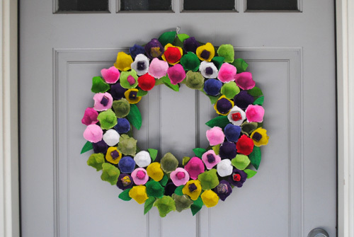 Recycled Egg Carton Wreath with A Brave New Home - ThinkCrafts.com