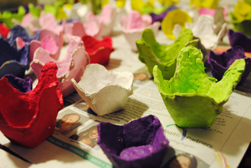 Multi Colored Cartons to create the look of flowers