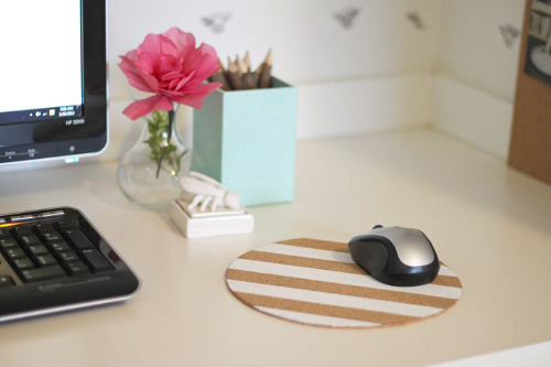 Make a cute reversible mouse pad! Tutorial at ThinkCrafts.com