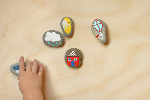 DIY Story Stones for imaginative play. Tutorial at ThinkCrafts.com