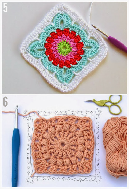 Patroon Granny Square by HaakKamer  and Puff Stitch Granny Square by Crejjtion
