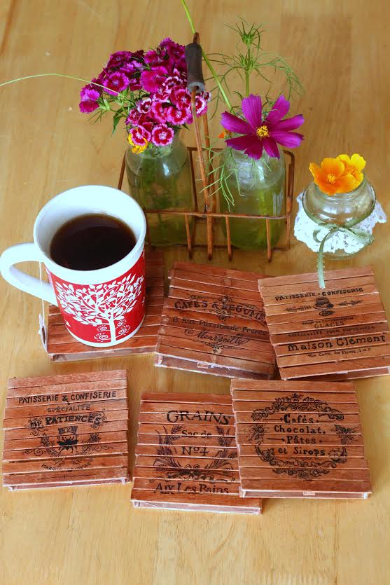 DIY Fancy Pallet Coasters from Craft Sticks