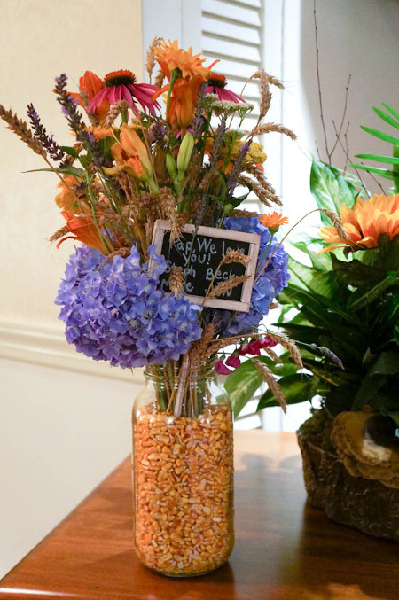 Create a harvest vase to hold pretty fall flowers