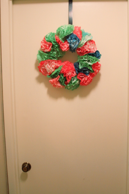 Create a wreath with coffee filters and watercolors.