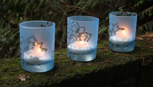 Stenciled Snowflake Tealight Holders