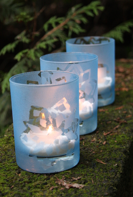 DIY Frosted Glass Snowflake Votives