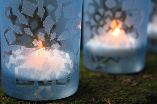 Stenciled Snowflake Votives