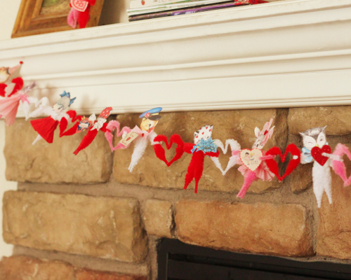 Vintage Valentine Animal Garland