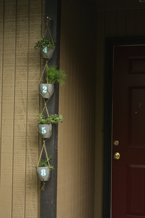 Hanging Herb Planter with House Numbers