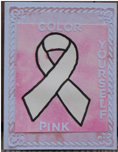 Color Yourself Pink Breast Cancer Awareness Card