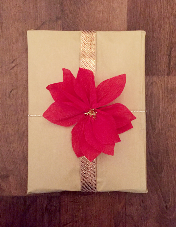 Crepe Paper Poinsettia Gift Toppers