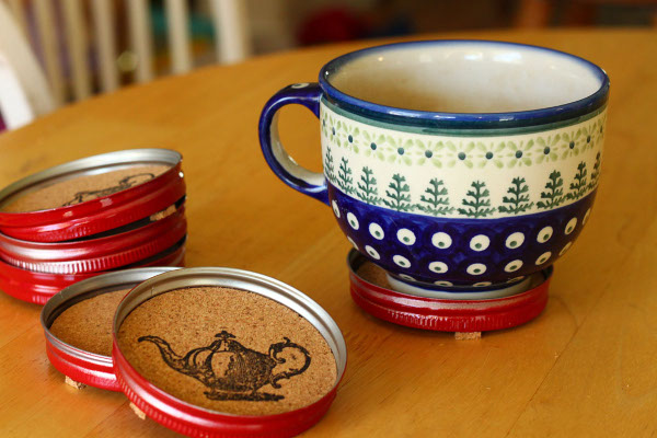 Leftover lids from mason jar crafts? Turn them into these cute coasters!
