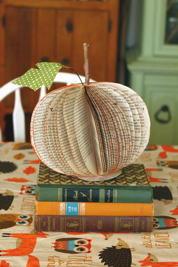 Upcycle an old book into a cute pumpkin decoration