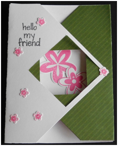 This card is two card techniques in one and is so easy to make you will want to create a lot of them to send to everyone you know.