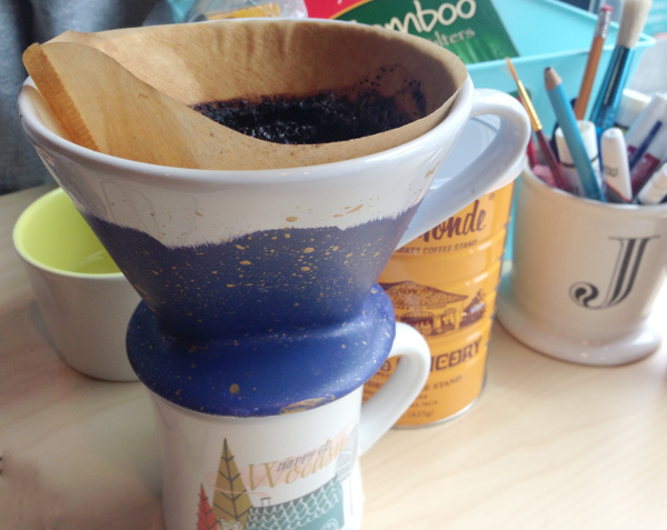 Paint a ceramic pour over coffee maker for your desk.