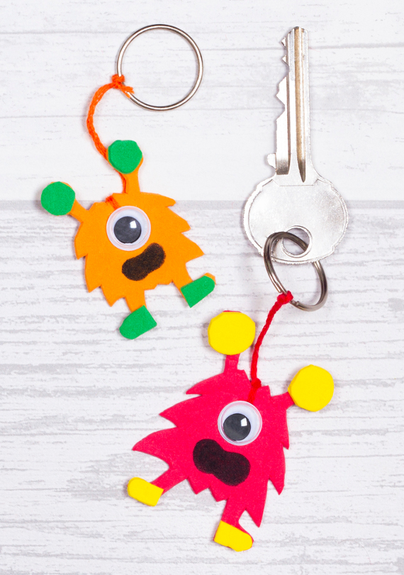 Smile every time you come home with these silly monster key rings!