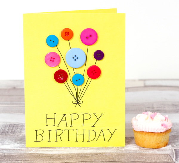 DIY your own button birthday balloon card for someone's special day.