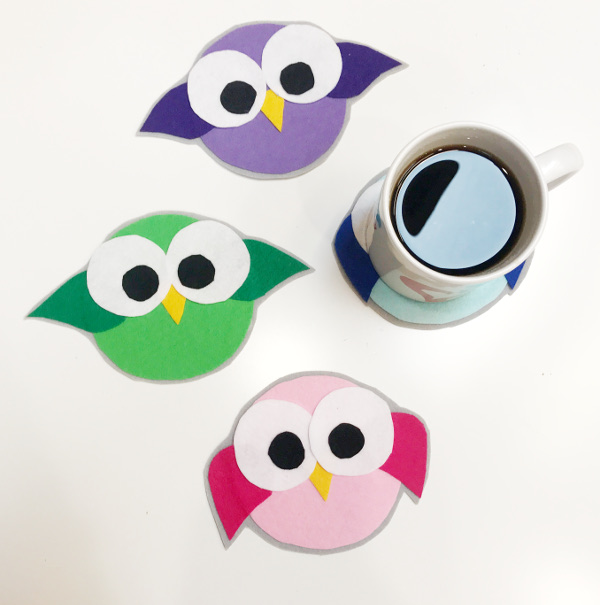 Kids can make their own colorful birds to protect your surfaces from their summer drinks.