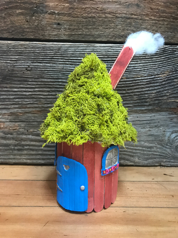 DIY a cute fairy house with hidden storage from recycled materials!