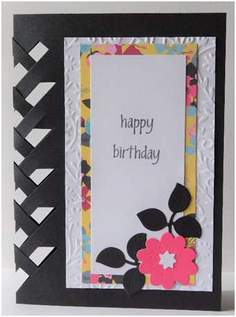 A fun weaving technique gives this birthday card a little extra pop!